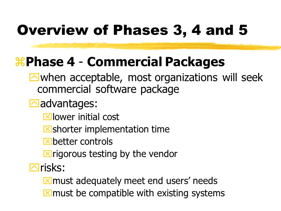 Overview of Phases 3, 4 and 5 Phase 4 - Commercial Packages