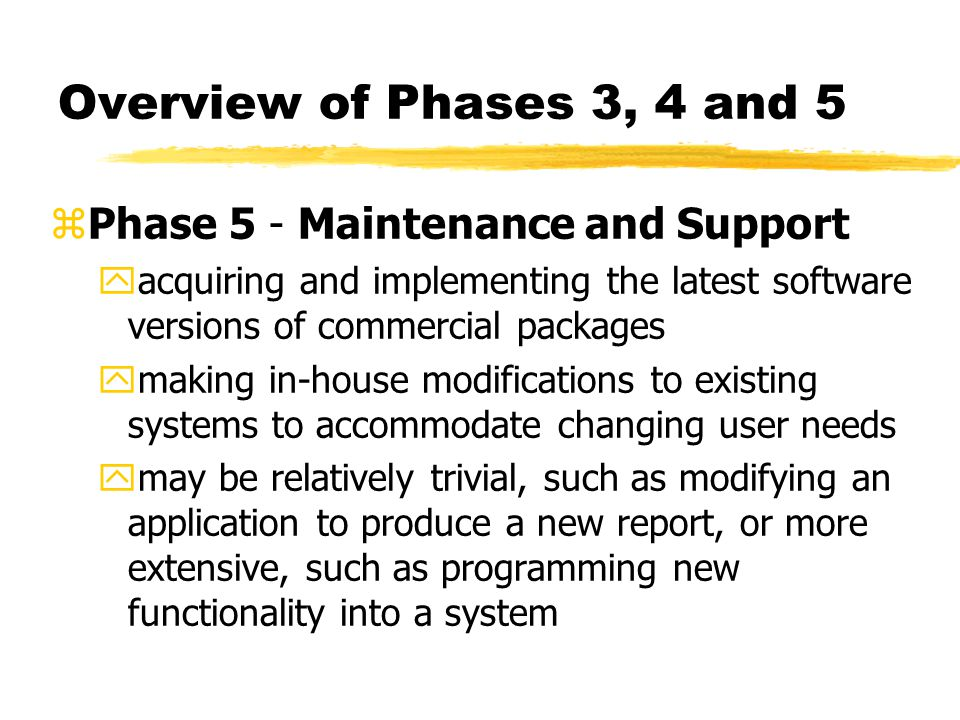 Overview of Phases 3, 4 and 5 Phase 5 - Maintenance and Support