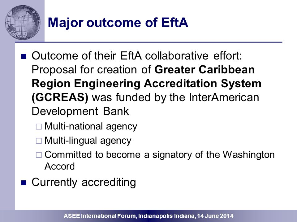 Major outcome of EftA