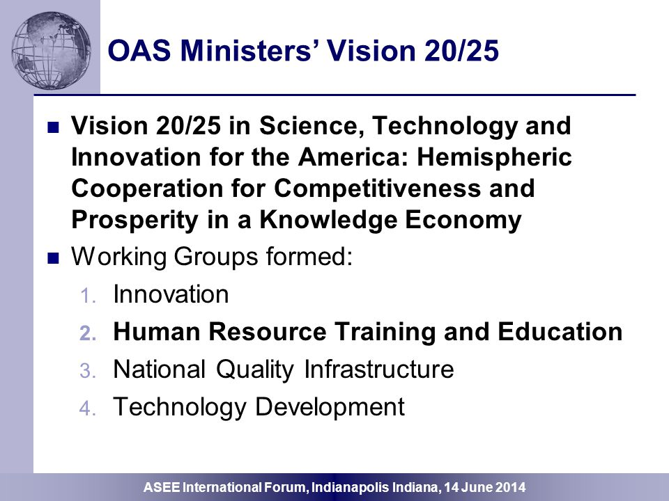 OAS Ministers' Vision 20/25