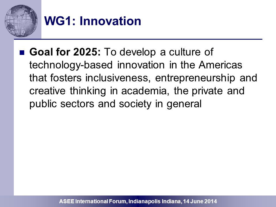 WG1: Innovation