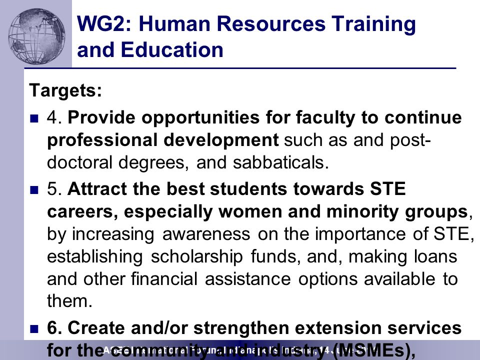 WG2: Human Resources Training and Education