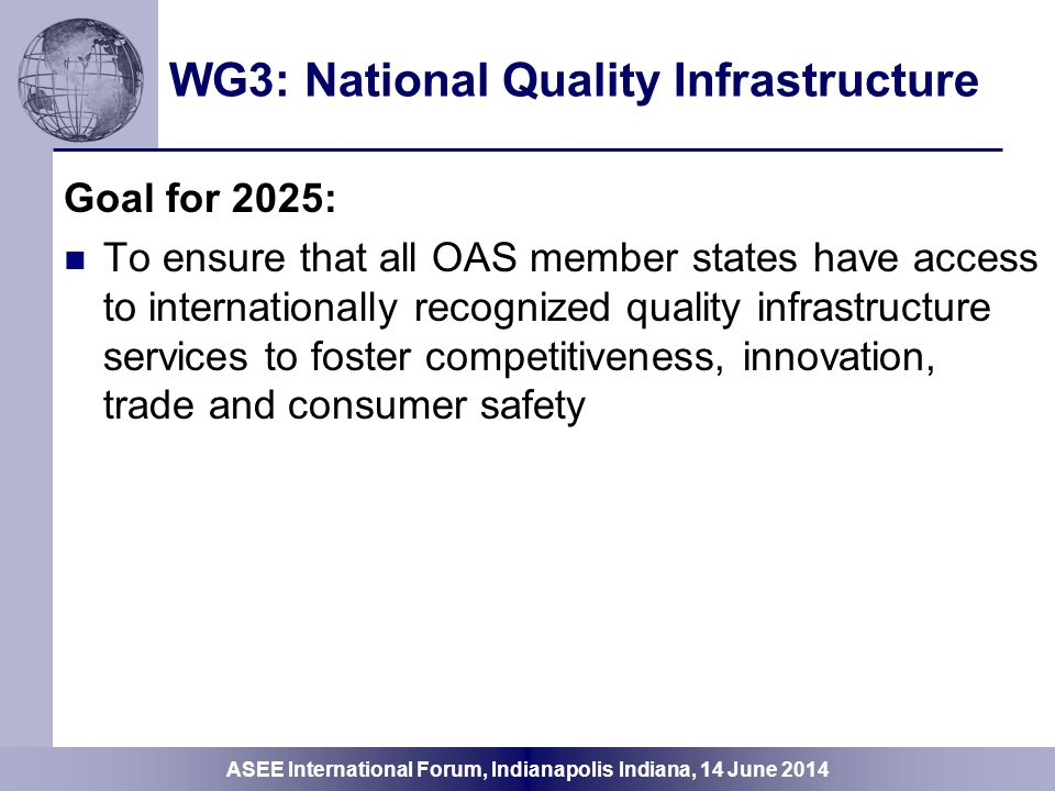 WG3: National Quality Infrastructure