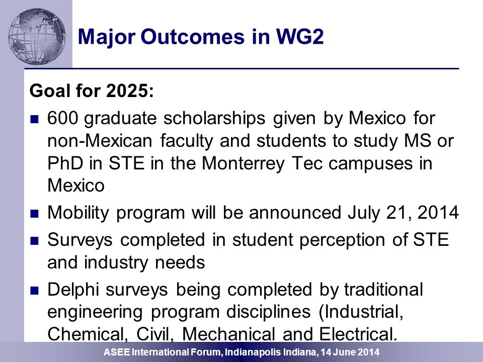Major Outcomes in WG2 Goal for 2025: