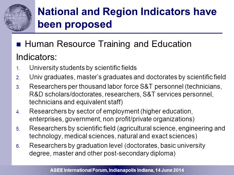 National and Region Indicators have been proposed