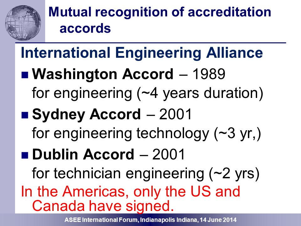 Mutual recognition of accreditation accords