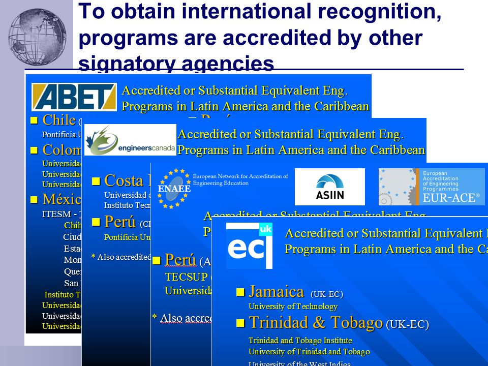 To obtain international recognition, programs are accredited by other signatory agencies