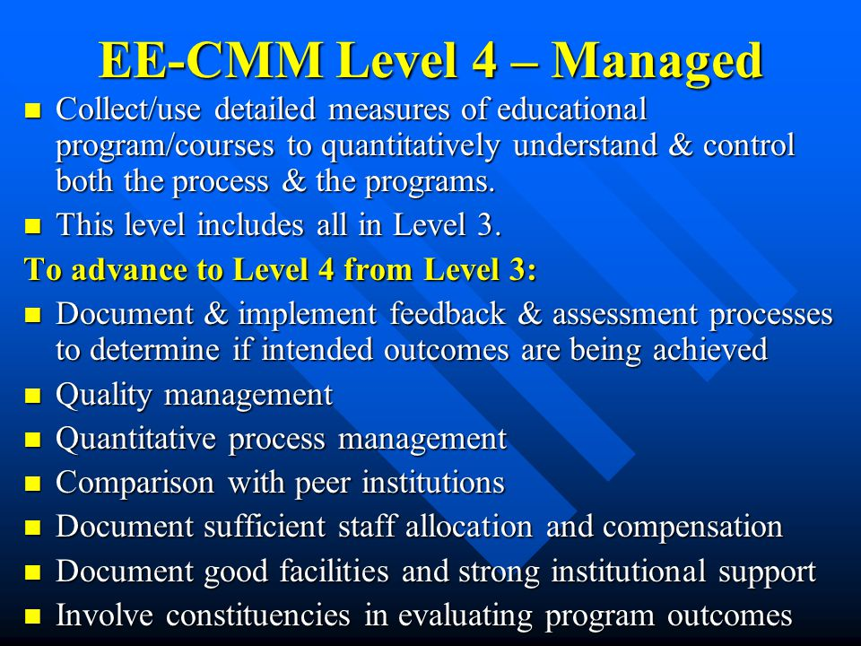 EE-CMM Level 4 – Managed