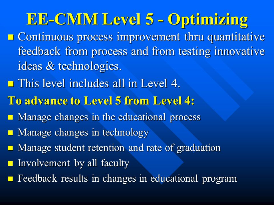 EE-CMM Level 5 - Optimizing