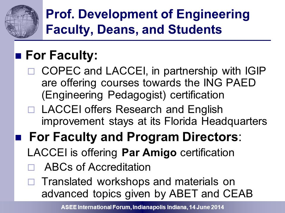 Prof. Development of Engineering Faculty, Deans, and Students