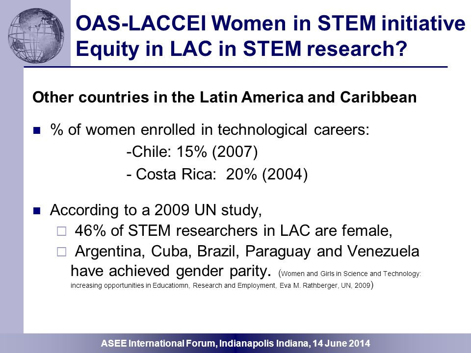 OAS-LACCEI Women in STEM initiative Equity in LAC in STEM research