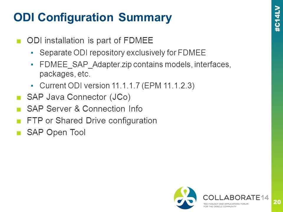 ODI Configuration Summary