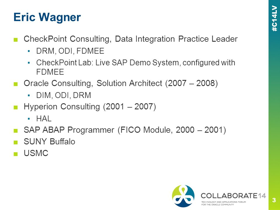 Eric Wagner CheckPoint Consulting, Data Integration Practice Leader