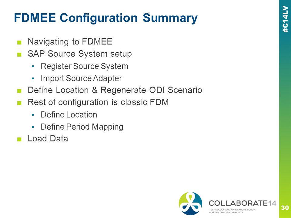 FDMEE Configuration Summary