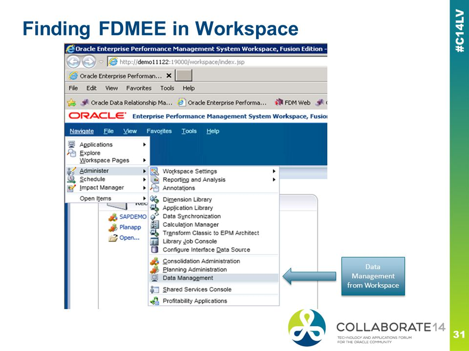 Finding FDMEE in Workspace