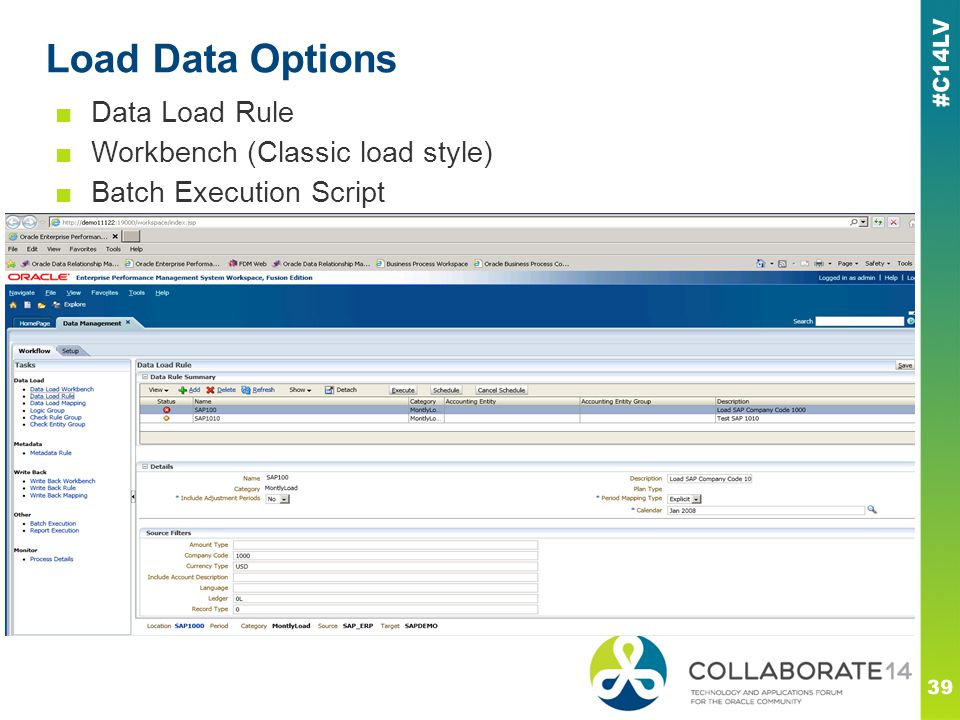 Load Data Options Data Load Rule Workbench (Classic load style)