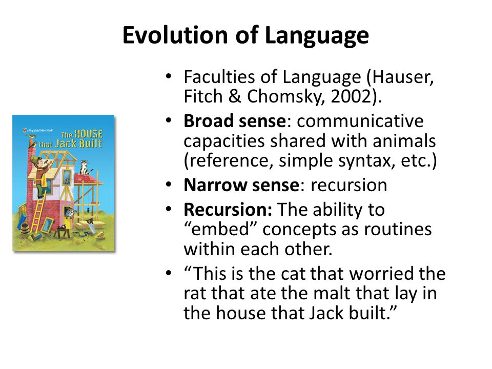 Evolution of Language Faculties of Language (Hauser, Fitch & Chomsky, 2002).