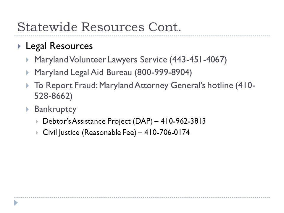 Statewide Resources Cont.
