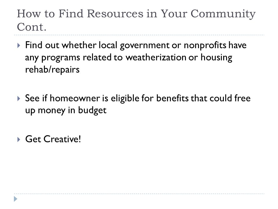 How to Find Resources in Your Community Cont.