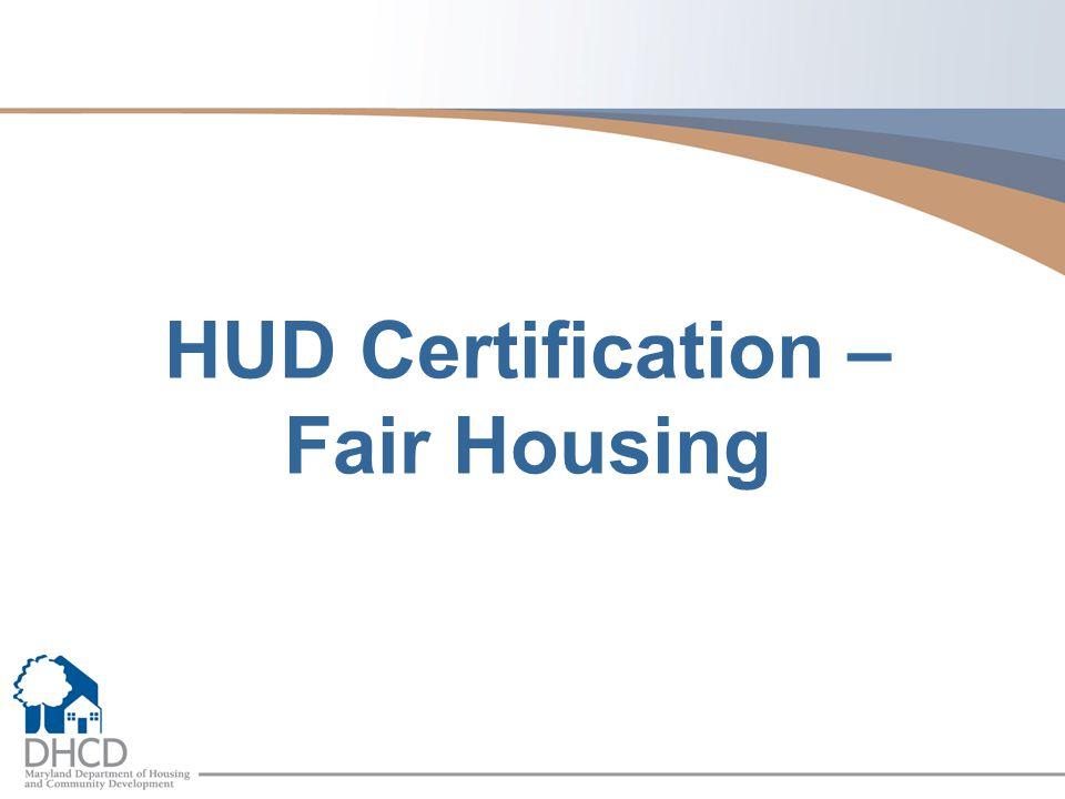 HUD Certification – Fair Housing