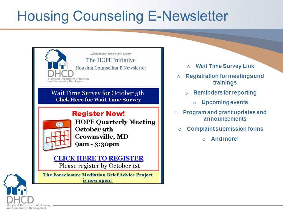 Housing Counseling E-Newsletter