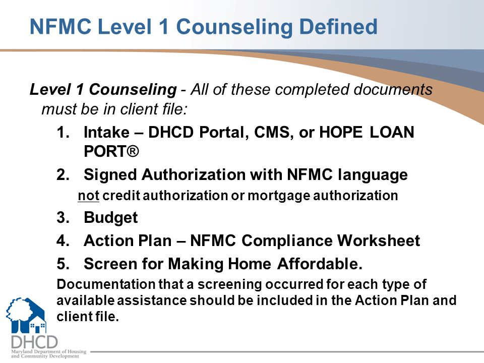 NFMC Level 1 Counseling Defined