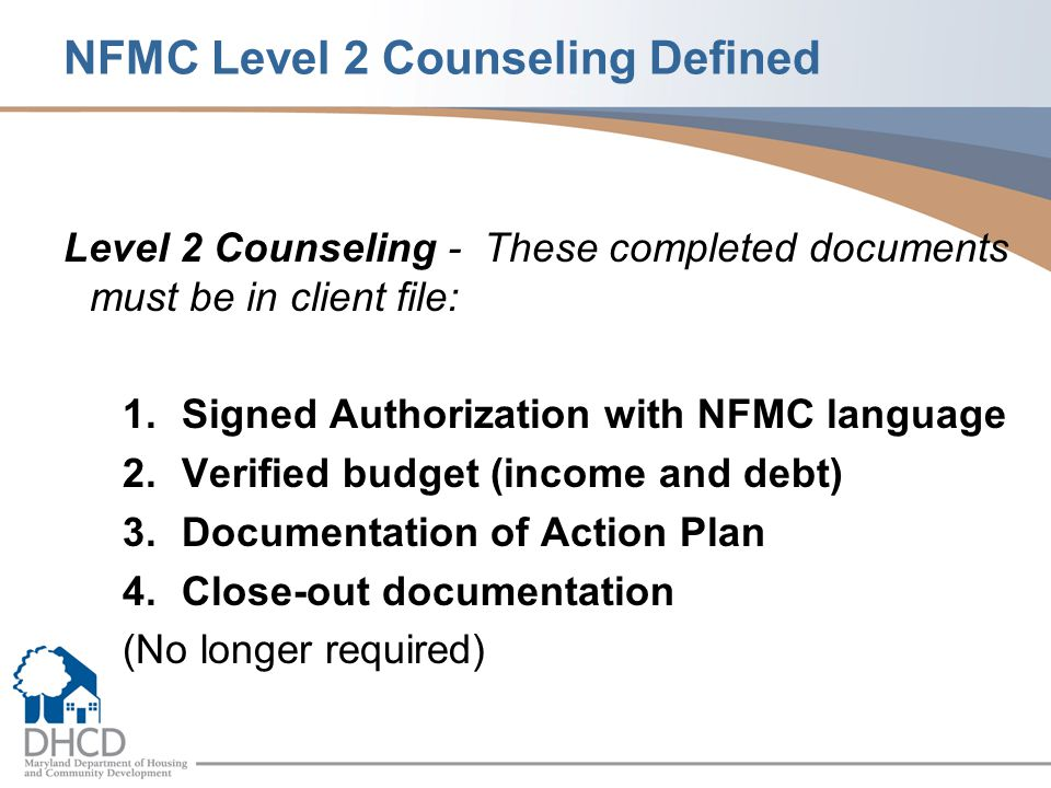 NFMC Level 2 Counseling Defined