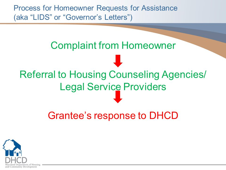 Process for Homeowner Requests for Assistance (aka LIDS or Governor's Letters )