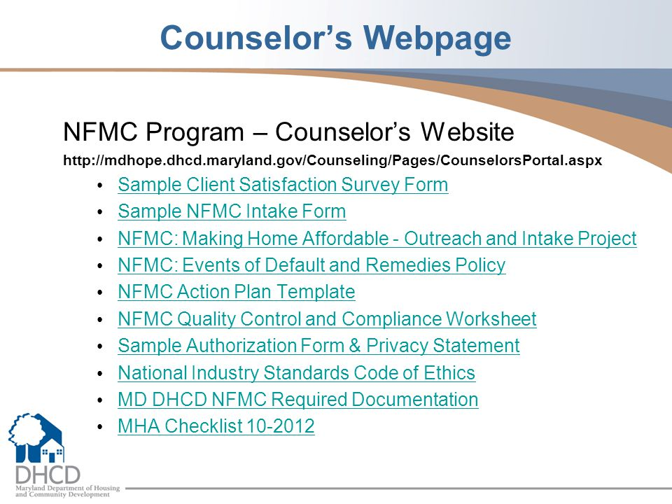 Counselor's Webpage NFMC Program – Counselor's Website