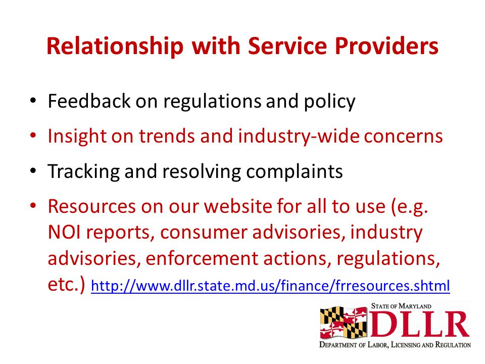 Relationship with Service Providers