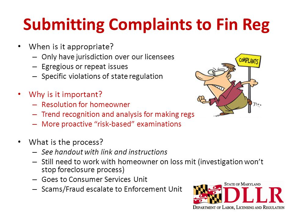 Submitting Complaints to Fin Reg
