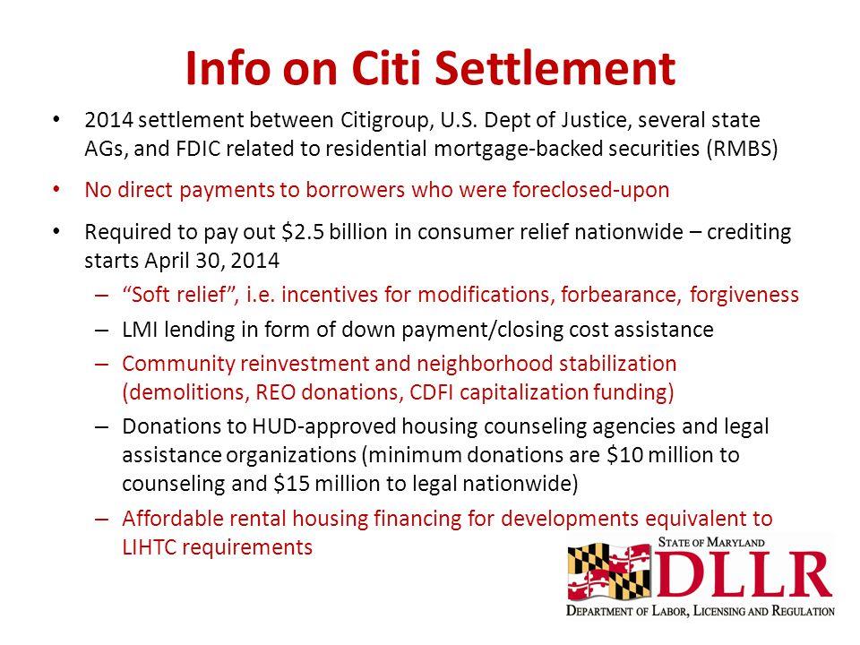 Info on Citi Settlement