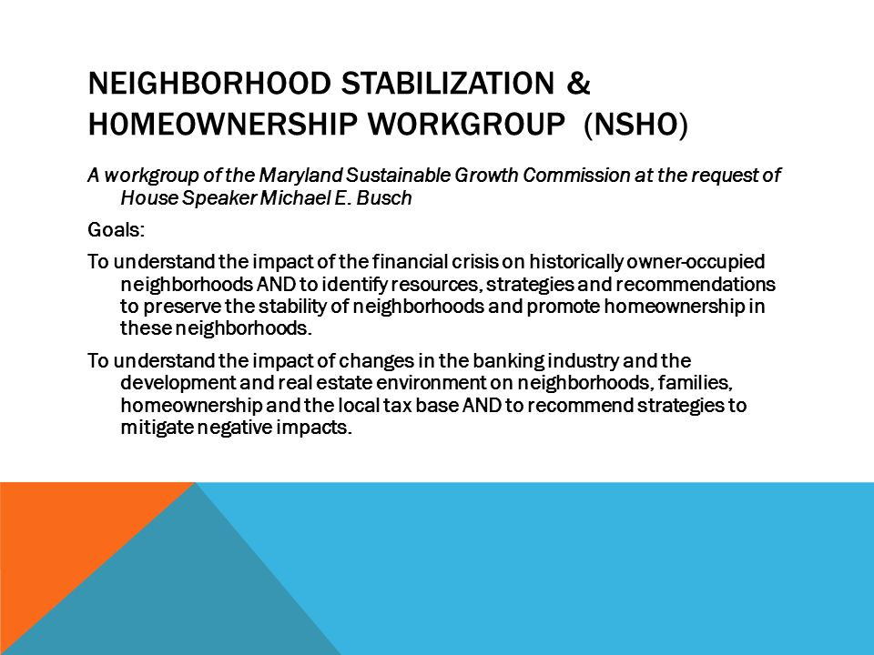 neighborhood stabilization & h0meownership workgroup (NSHO)