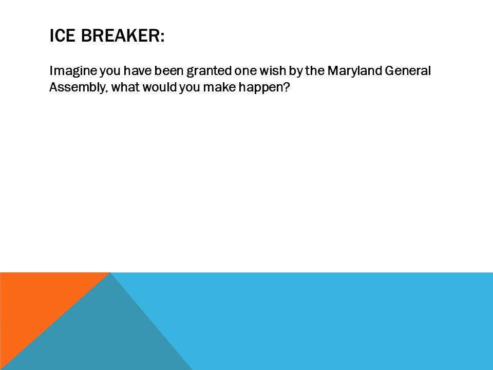 Ice breaker: Imagine you have been granted one wish by the Maryland General Assembly, what would you make happen
