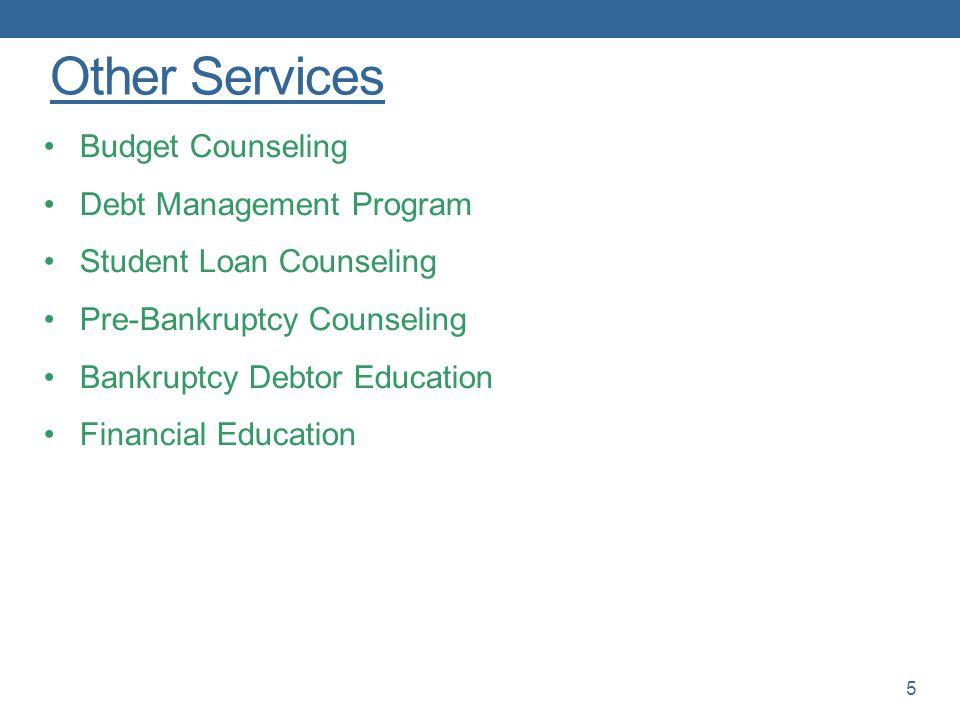 Other Services Budget Counseling Debt Management Program