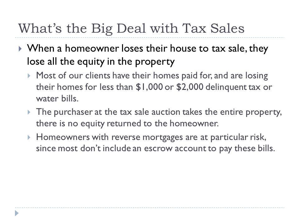 What's the Big Deal with Tax Sales