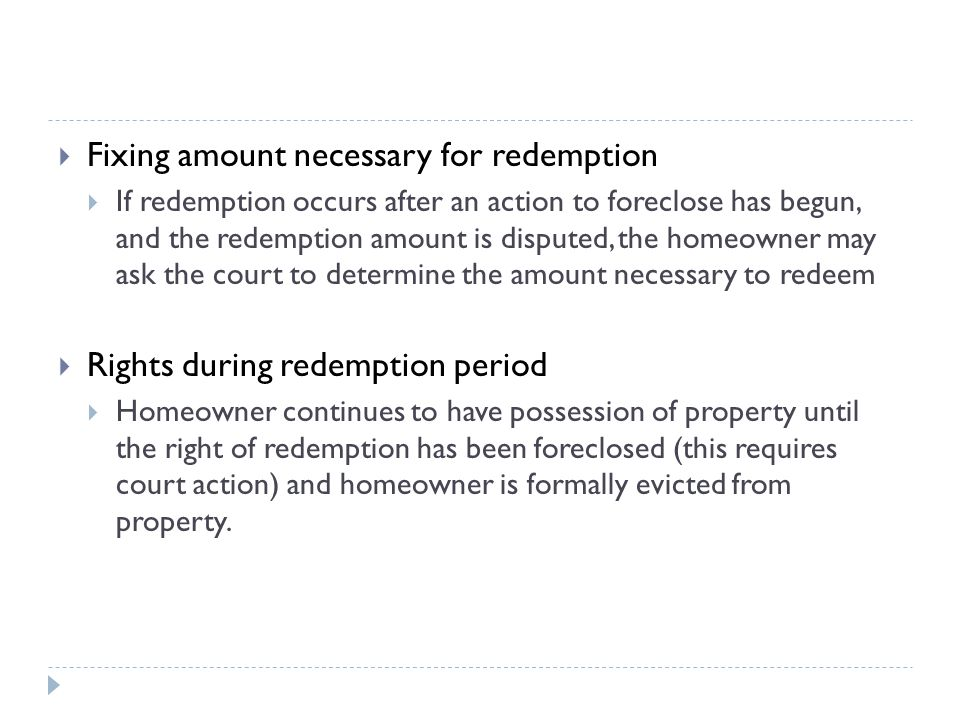 Fixing amount necessary for redemption