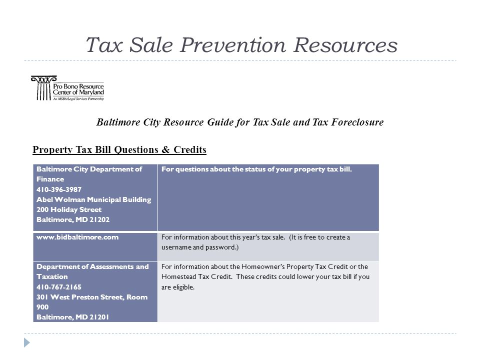 Tax Sale Prevention Resources