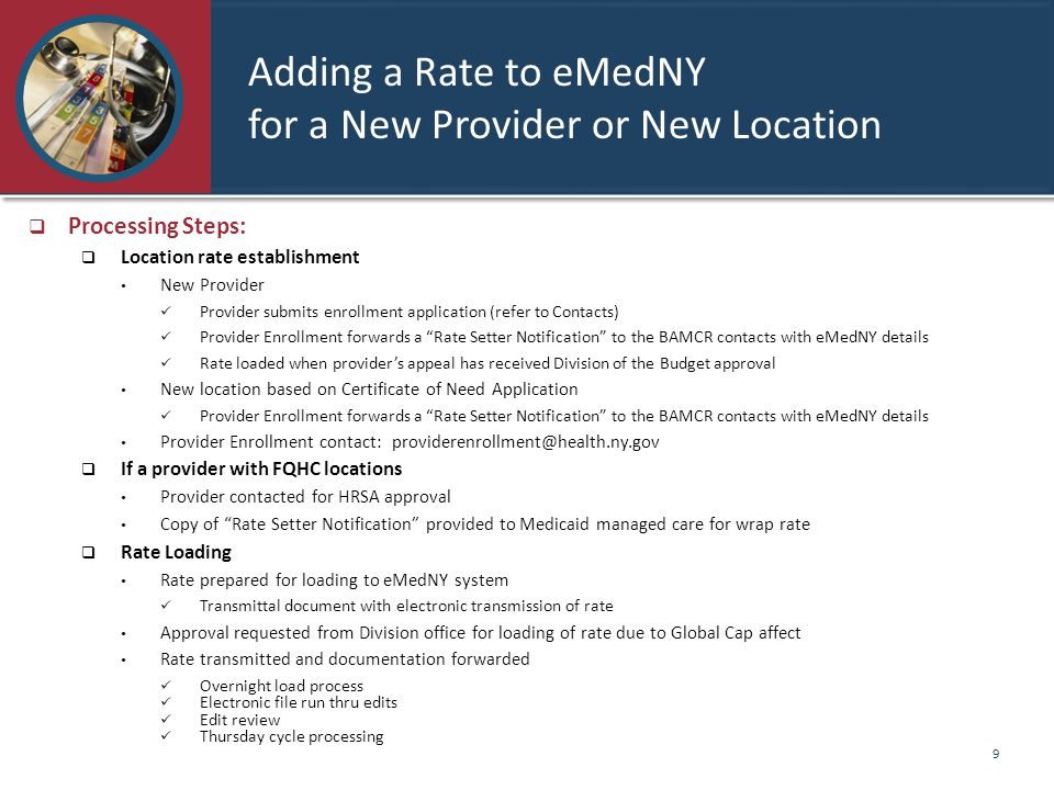 Adding a Rate to eMedNY for a New Provider or New Location
