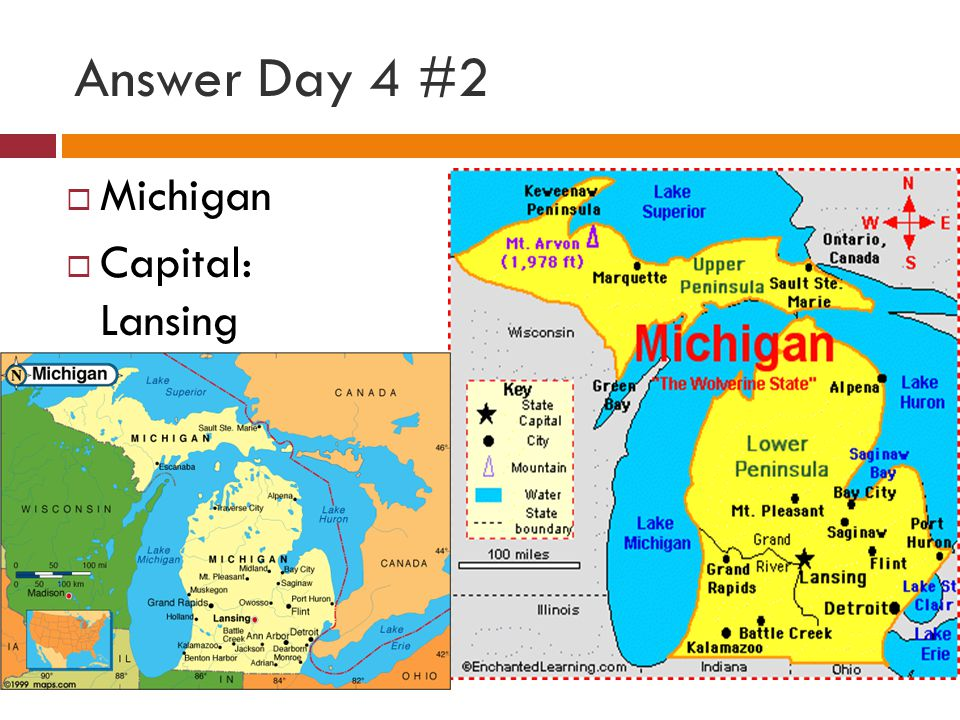 Answer Day 4 #2 Michigan Capital: Lansing