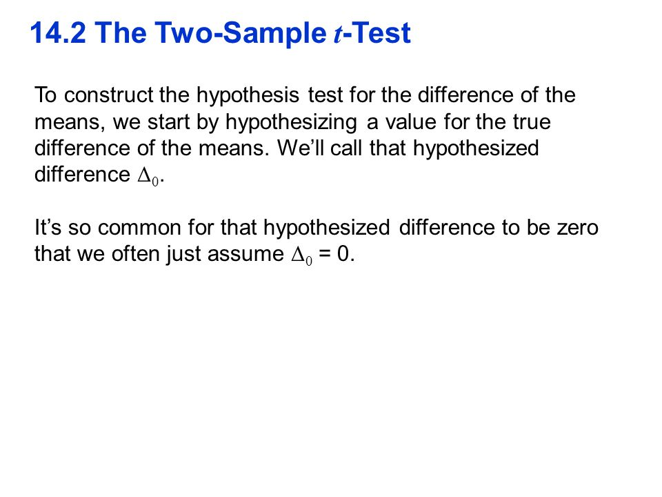 QTM1310/ Sharpe 14.2 The Two-Sample t-Test.