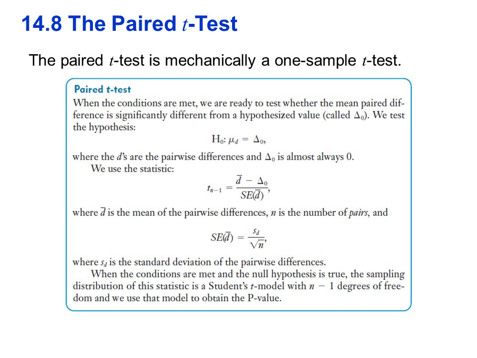 QTM1310/ Sharpe 14.8 The Paired t-Test The paired t-test is mechanically a one-sample t-test. 39