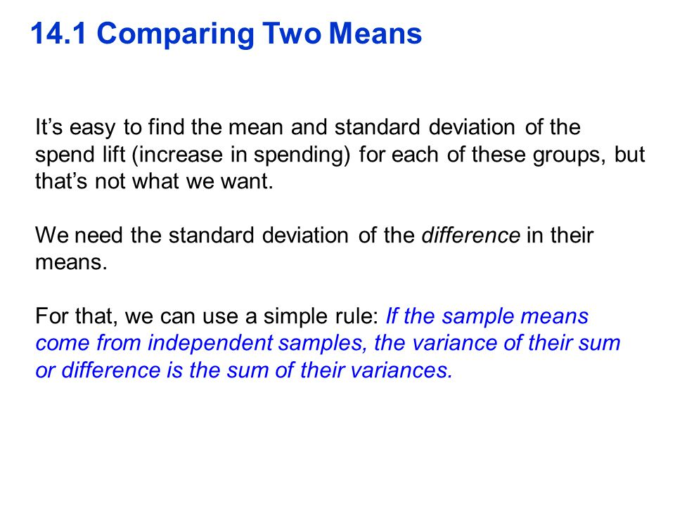 QTM1310/ Sharpe 14.1 Comparing Two Means.