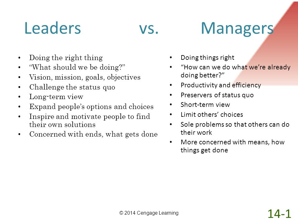 Leaders vs. Managers 14-1 Doing the right thing