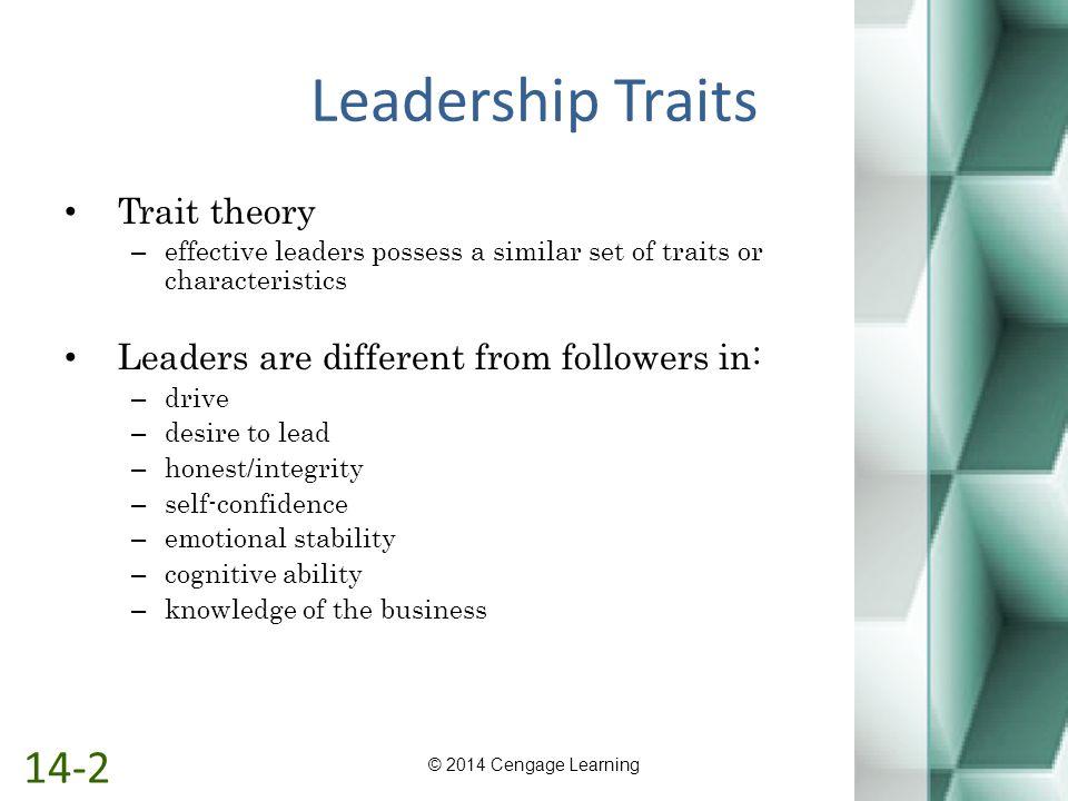 Leadership Traits 14-2 Trait theory