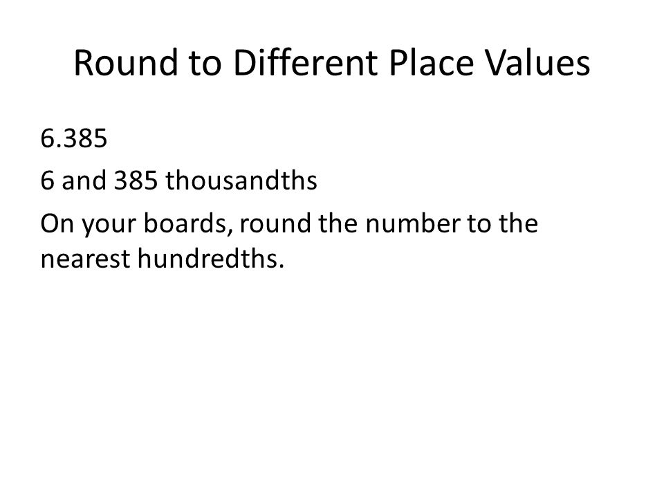 Round to Different Place Values