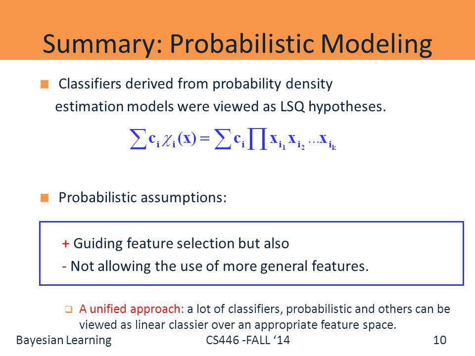 Summary: Probabilistic Modeling