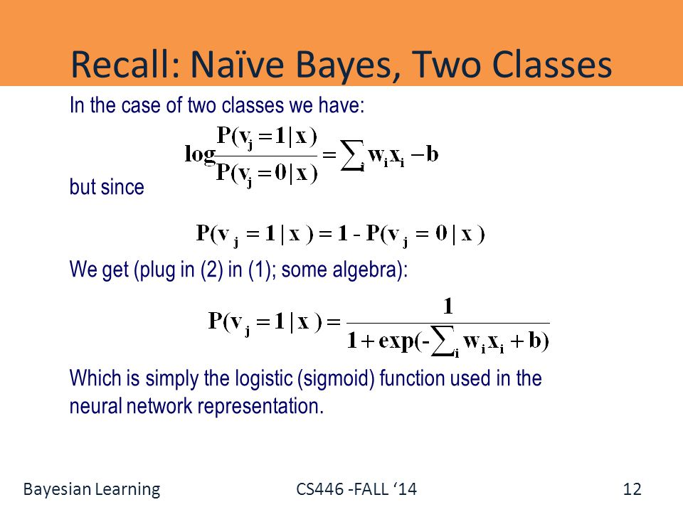 Recall: Naïve Bayes, Two Classes
