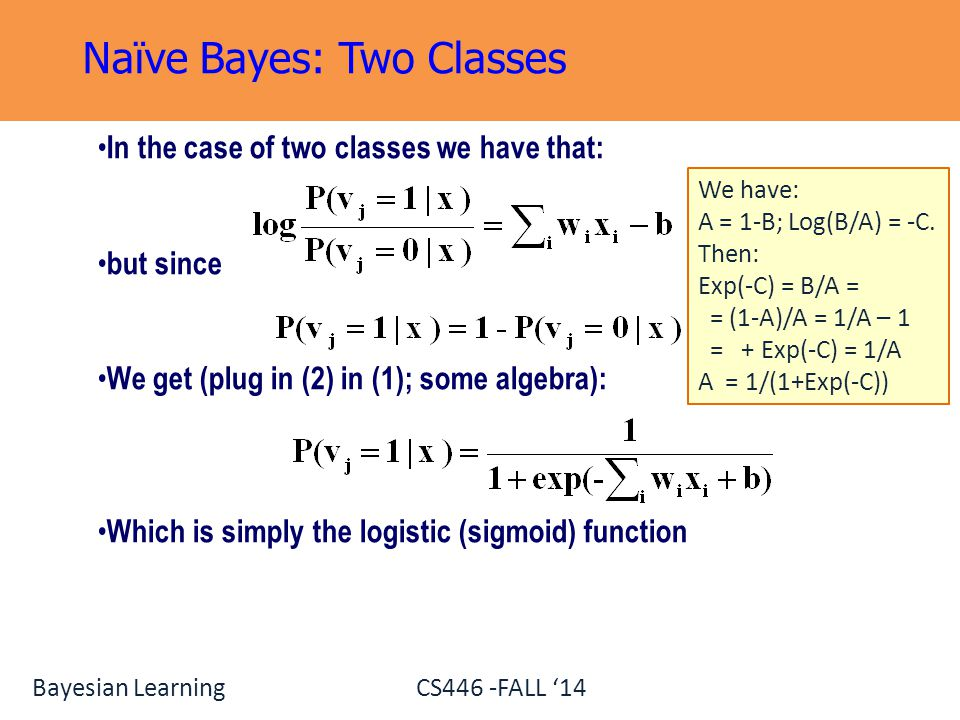 Naïve Bayes: Two Classes