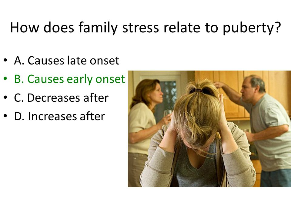 How does family stress relate to puberty